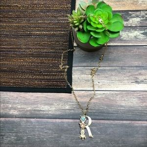Gold Tone Floral Letter R initial Necklace